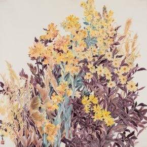 """06 Xie Qing Yellow 123 x 123 cm 2016 290x290 - """"Blooming Season – Xie Qing's New Works Exhibition"""" opened at SZ Art Center"""