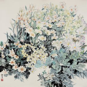 """07 Xie Qing White 123 x 123 cm 2016  290x290 - """"Blooming Season – Xie Qing's New Works Exhibition"""" opened at SZ Art Center"""