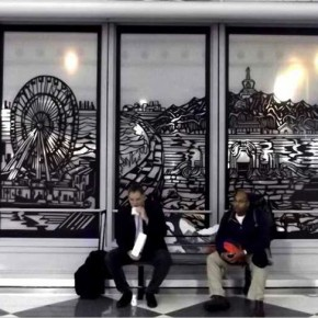 "10 Qiao Xiaoguang's paper-cut work: ""Windows of the City"" Chinese paper-cut in the public space of an American city – The large-scale paper-cut installation at the O'Hare International Airport, Chicago, USA."