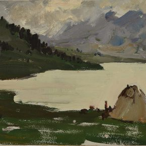 23 Luo Gongliu, Mongolian Yurt, oil on cardboard, 25 x 33 cm, 1961, collected by the family of the painter