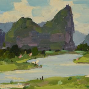 27 Luo Gongliu, On the Both Sides of the Li River, oil on cardboard, 17 x 15 cm, 1960, collected by the family of the painter
