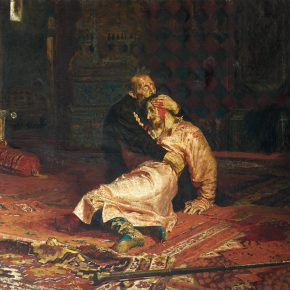 "32 Luo Gongliu copied Repin's masterpiece ""Ivan the Terrible and His Son Ivan"", oil on canvas, 131 x 180 cm, 1958, in the collection of Huamao Art Educational Museum in Zhejiang province"
