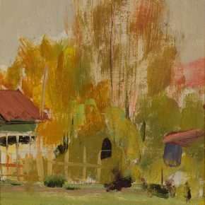 35 Luo Gongliu, Hedge, oil on cardboard, 17.5 x 12.5 cm, 1957, collected by the family of the painter