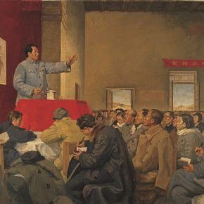 41 Luo Gongliu, Mao Zedong Made a Rectification Report in Yan'an, oil on canvas, 168 x 240 cm, 1951, in the collection of National Museum of China