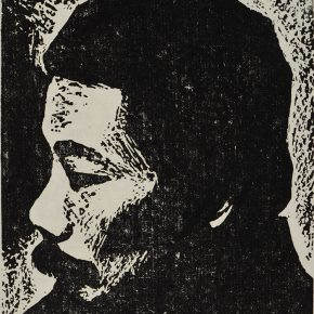 44 Luo Gongliu, Portrait of Lu Xun, black and white woodcut, 16 x 13 cm, 1936, collected by the family of the painter