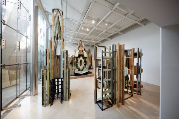 Liu Wei, Merely a Mistake, 2009-2012; Doors, door frames, acrylic board, stainless steel, 270x450x320cm, Collection of David Chau
