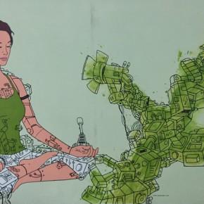 "Terra Bajraghosa Green Meditation 2008 Oil on canvas 150x200cm 290x290 - Soka Art Center presents ""Behind Foreign Lands – Southeast Asian Contemporary Art"" featuring 17 artists"