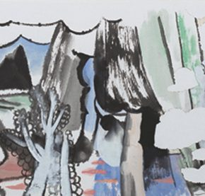 """Yao Mingjing Constituting Landscape 2014 ink and color on paper 179x47cm 290x277 - Academic Righteousness during a Leisurely Tour: Yao Mingjing's """"Appearances Formed by Thoughts"""" Exhibiting at the National Art Museum of China"""