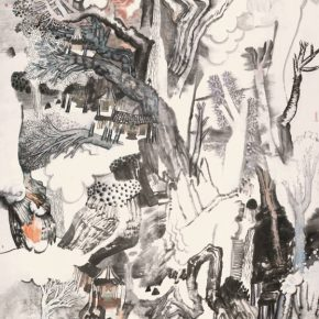 """Yao Mingjing Hidden Space 2016 ink and color on paper 188x430cm 290x290 - Academic Righteousness during a Leisurely Tour: Yao Mingjing's """"Appearances Formed by Thoughts"""" Exhibiting at the National Art Museum of China"""