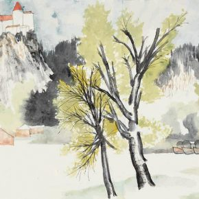 """Yao Mingjing Sketch of Austria 2014 ink and color on paper 34.5x74cm 290x290 - Academic Righteousness during a Leisurely Tour: Yao Mingjing's """"Appearances Formed by Thoughts"""" Exhibiting at the National Art Museum of China"""