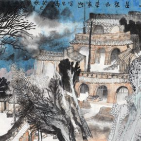 """Yao Mingjing Sketch of Lijiashan Lvliang in Shanxi 2013 ink and color on paper 60x163cm 290x290 - Academic Righteousness during a Leisurely Tour: Yao Mingjing's """"Appearances Formed by Thoughts"""" Exhibiting at the National Art Museum of China"""