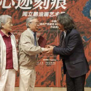 "07 Director Wu Weishan awarded Wen Lipeng a donation certificate 290x290 - The Solemn and Noble: ""Marks in Mind – Wen Lipeng Oil Painting Art Exhibition"" grandly opened at the NAMOC"