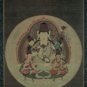 Five esoteric bodhisattvas, Important Cultural Property (Japan), Hanging scroll, color on silk; Kamakura period to Nanbokucho (14th century)
