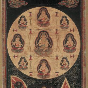 Maitreya mandala, Important Cultural Property (Japan), Hanging scroll, color on silk; Kamakura period (13th century)