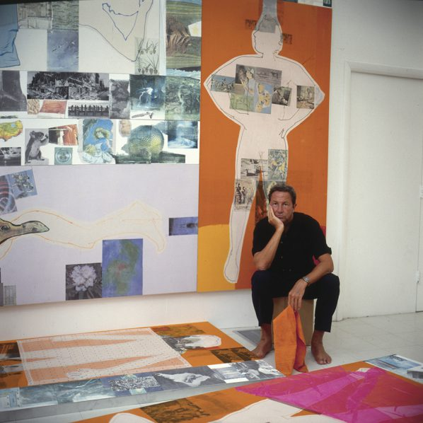Rauschenberg working on The 14 Mile or 2 Furlong Piece (1981–98) in his studio, Captiva, Florida, ca. 1983;