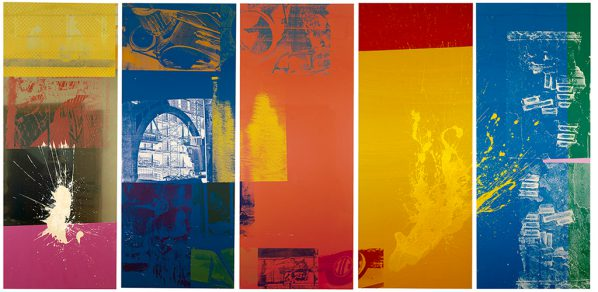 Robert Rauschenberg (1925–2008)The 1/4 Mile or 2 Furlong Piece1981–98Panels 116 to 120116: Silkscreened ink and acrylic on anodized mirrored aluminum117 to 120: Silkscreened ink and acrylic on enameled aluminum304.8 x 121.9 cm eachRobert Rauschenberg Foundation© 2016 Robert Rauschenberg Foundation