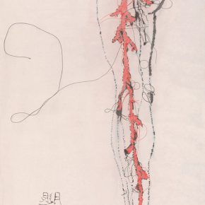 03 Xu Hualing, Embroidery – Leg, color and ink on silk, 160 x 80 cm, 2009