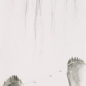 25 (Part of the participating work) Wu Yi, Crossing No.3, 138 × 68cm, ink on paper, 2014