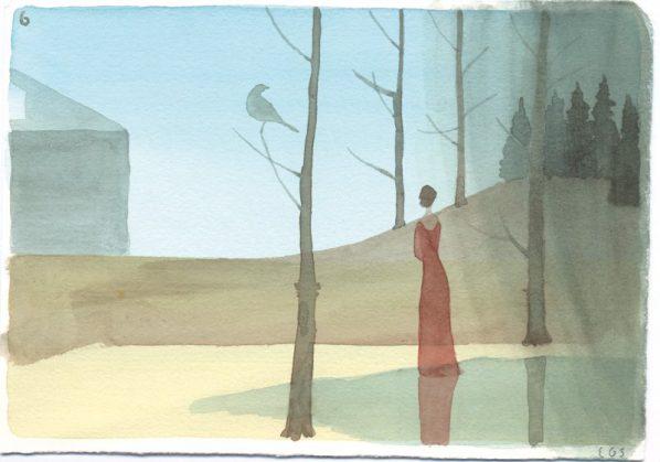Emilio GONZÁLEZ SAINZ, Untitled (Three russians in the garden Series), 2015, Watercolour on paper, 13 x 18cm