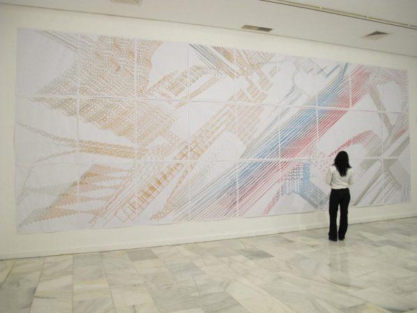 Laura GONZÁLEZ CABRERA, Opus Number 2, 2011, Pigments on paper, 810 x 300cm