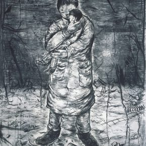 Li Jikai, Embrace, 2015; Charcoal drawing on paper, 106×78cm