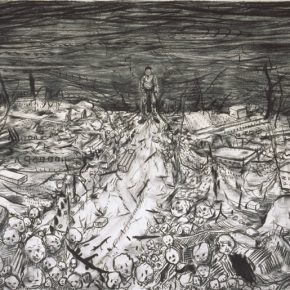 Li Jikai, Scene, 2015; Charcoal drawing on paper, 100×200cm