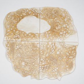 Meng Du, Evanescing Scenery No. 1, 2013; Kiln-formed glass, tea, 80x80x1.3cm