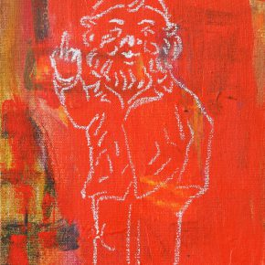 "Sheng Tianhong Ai weiwei als Santa Claus 2016 Mixed Media on Canvas 30x20cm 290x290 - Aye Gallery presents  ""I Love Modernism – Sheng Tianhong New Works"" in Beijing"