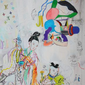 "Sheng Tianhong Chinoiserie France Love China 2016 Media on Canvas 200x139.5cm  290x290 - Aye Gallery presents  ""I Love Modernism – Sheng Tianhong New Works"" in Beijing"