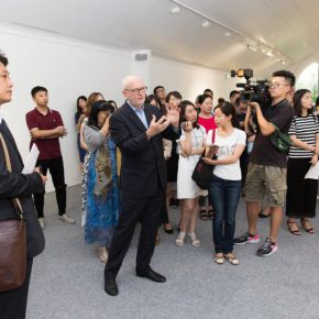 05 Curator of the exhibition Lorand Hegyi guided the media in visiting the exhibition 290x290 - Challenging Beauty – Insights of Italian Contemporary Art opened at Parkview Green Museum
