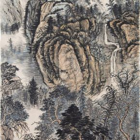 12 Chen Jiahao, The Quiet Gully with a Flowing Spring, landscape painting