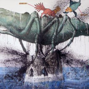 "Gong Xu Tales of the Broken Tower 2 2012 painting 190x340cm 290x290 - Hanart TZ Gallery presents ""Annals of Floating Island"" in Hong Kong"
