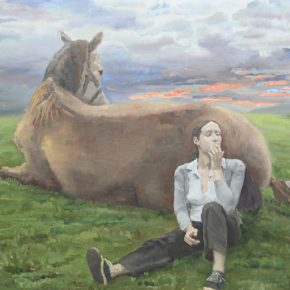 """Qi Xing A Horse and A British Woman 2010 Oil on canvas 200x250cm 290x290 - AAW Gallery presents """"Jade, Abyss and Pond"""" featuring paintings by Qi Xing, Fan Jiupeng and Ni Jun"""