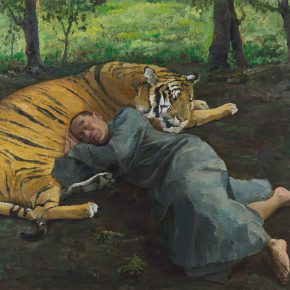 """Qi Xing Monk and Tiger 2011 Oil on canvas 200 x 250 cm 290x290 - AAW Gallery presents """"Jade, Abyss and Pond"""" featuring paintings by Qi Xing, Fan Jiupeng and Ni Jun"""