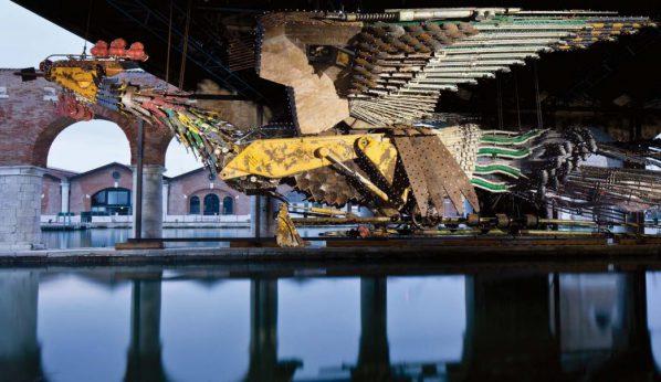 Xu Bing, Phoenix, 2008–15, installation view at the Venice Biennale, 2015, industrial waste, female 20