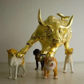 """Yan Lei Bull Market in the Year of Dog 2007 Installation 160x160x120cm 290x290 - Shanghai Gallery of Art presents the group exhibition entitled """"THINKING & BEYOND"""""""