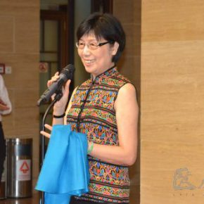 "03 Professor of The University of Hong Kong Special researcher of Dunhuang Academy Li Meixian delivered a speech 290x290 - ""Historical Records Dressed by People"": Exhibition of Selected Baby Back Straps from Ethnic Groups in Southwest China"