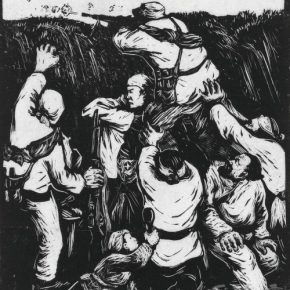 04 Yan Han, When the Enemies Search the Mountain, woodblock print, 22 x 19.5 cm, 1943, in the collection of the National Art Museum of China