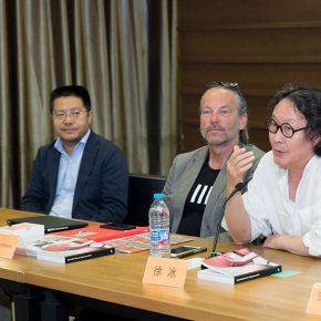 "05 Director of Academic Committee of CAFA Xu Bing the first one on the right 290x290 - Themed on ""Ethics of Technology"" the ""Beijing Media Art Biennale 2016"" is opening in September"