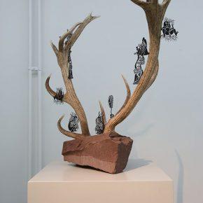 05 Wu Jian'an, The Immortal. Deer horn, rock, laser engraving on copper plate. 86 x 110 x 54cm. 2016