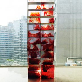 """07 A Tribute to All the Lost Ova Liu Ren Transparent resin menses blood 2 18 x 3 78 x 3 in. 5.5 x 10 x 7.5 cm each Installation size 26 x 7 78 x 3 in. 66 x 20 x 7.5 cm 2015 290x290 - Eli and Edythe Broad Art Museum announces """"Fire Within:  A New Generation of Chinese Women Artists"""""""