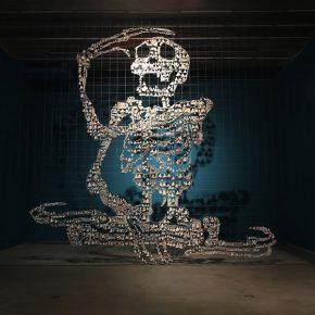 11 Wu Jian'an, Giant Skeleton. Polished sea shell, fish tape, golden markers. 580 x 870 x 55cm. 2015-2016