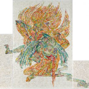 27 Wu Jian'an The New Interpretation of Legend of the White Snake VI. Laser engraving on paper. Colored manually immersed in wax sewed with cotton thread on cloth. 350 x 310cm. 2015. 290x290 - Wu Jian'an