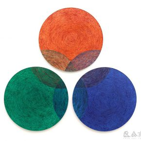 29 Wu Jian'an, Three Primary Colors. Colored wax painting on wood and stainless steel. 3 units, with each unit 150cm in diameter and 7cm thick. 2014