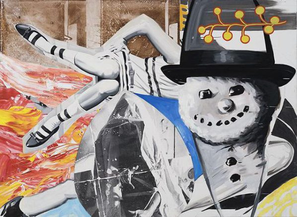 DAVID SALLE, Smoke Kools, 2014-2016; oil and acrylic with silkscreen and digital and transfer prints on canvas and linen, 170.2x233.7cm.