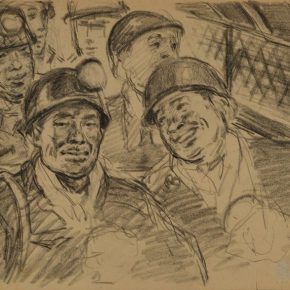 "08 Wu Biduan Take the Elevator to Go Down to the Mine 19 × 26 cm 1960 private collection of Wu Biduan 290x290 - Draw the Paintings that People Can Read ""Incised Traces: An Exhibition in Honor of Wu Biduan's Ninetieth Birthday"""