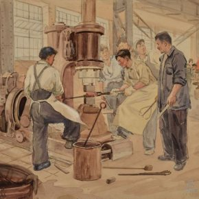 "15 Wu Biduan Teaching the Apprentices to Forge Devices 29 × 30 cm watercolor on paper 1952 private collection of Wu Biduan  290x290 - Draw the Paintings that People Can Read ""Incised Traces: An Exhibition in Honor of Wu Biduan's Ninetieth Birthday"""