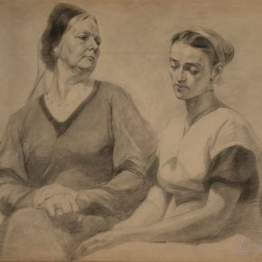 "21 Wu Biduan Study of double models when he studied overseas in the Soviet Union – Mother and Daughter in Law drawing on paper 59 × 72 cm 1957 private collection of Wu Biduan 290x290 - Draw the Paintings that People Can Read ""Incised Traces: An Exhibition in Honor of Wu Biduan's Ninetieth Birthday"""