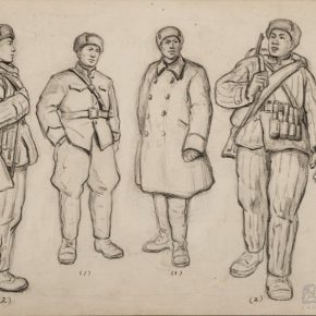 "25 Wu Biduan Commanders of Chinese Volunteers sketch on paper 22 × 30 cm 1951 private collection of Wu Biduan  290x290 - Draw the Paintings that People Can Read ""Incised Traces: An Exhibition in Honor of Wu Biduan's Ninetieth Birthday"""
