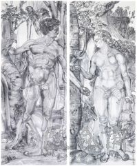 36 Qiu Zhijie, Thearchy Series-Adam and Eve, ink on paper, 145 x 365 cm x 2 pieces, 2013
